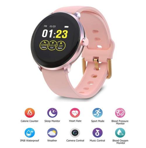 BRIBEJAT Women Smart Watch Pink