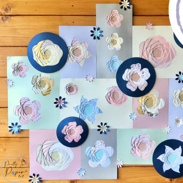 pastel iris folded floral designs on table