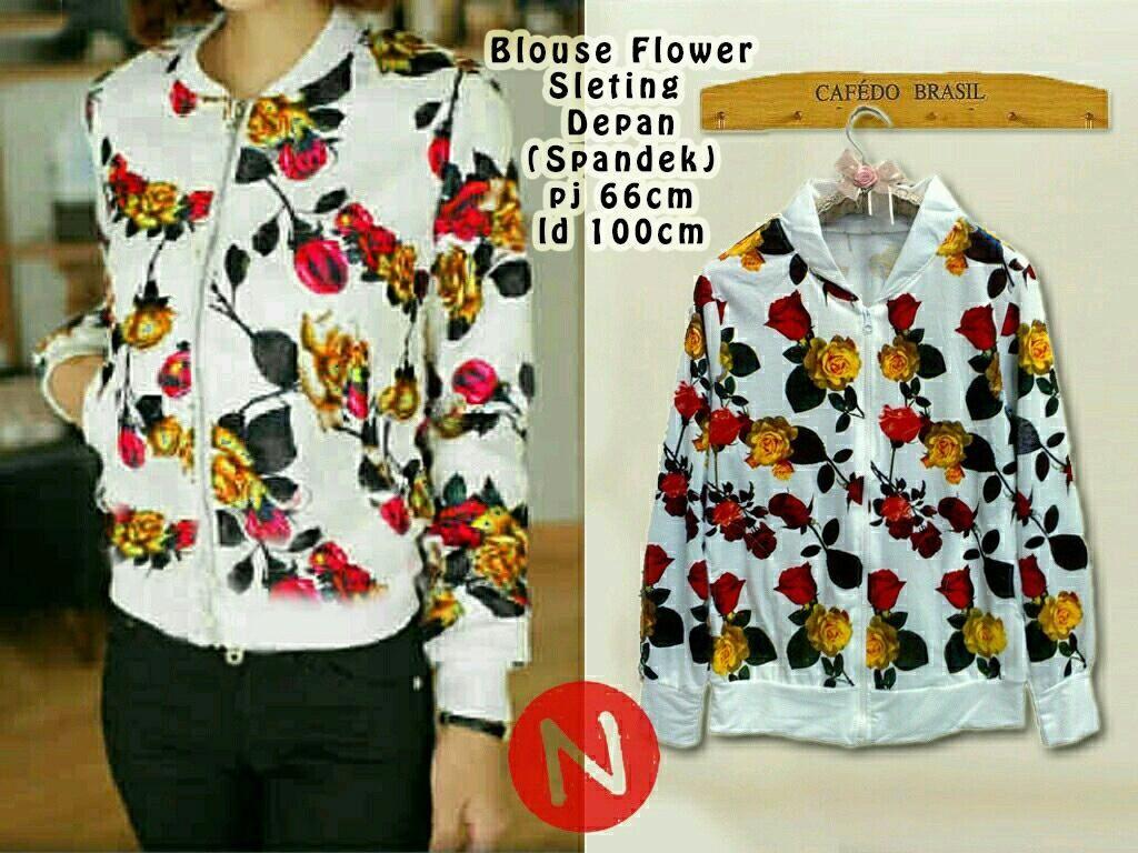 Jual Baju Lengan Panjang Blouse Flowers Seleting - 12675