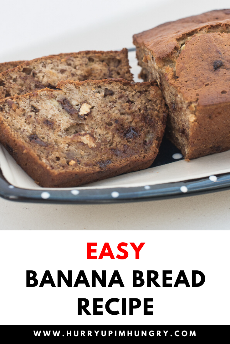 Easy banana bread recipe with nuts and chocolate chips