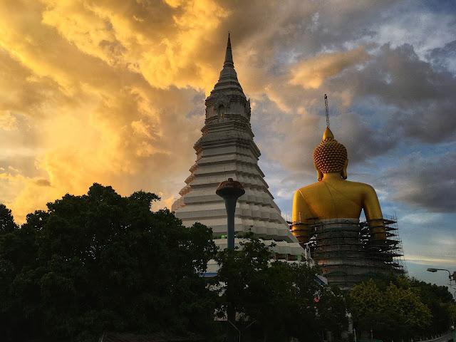 the Big Buddha at Wat Pak Nam, Bangkok, Thailand