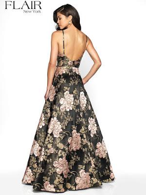 Borcade A-line Flair Prom Dress Black rose color Back side