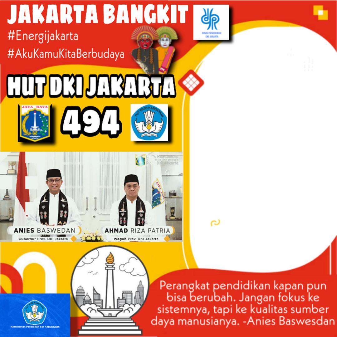Template Bingkai Twibbon Hut DKI 494 Jakarta Bangkit
