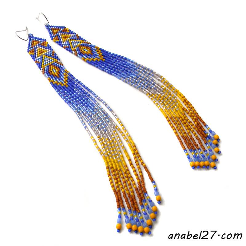 купить украшения из бисера этно стиль длинные висячие с бахромой