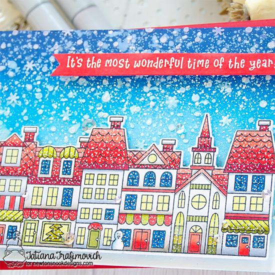 Snowy Christmas Street Card by Tatiana Trafimovich | Main Street Christmas Stamp Set and Petite Snow Stencil by Newton's Nook Designs #newtonsnook #handmade