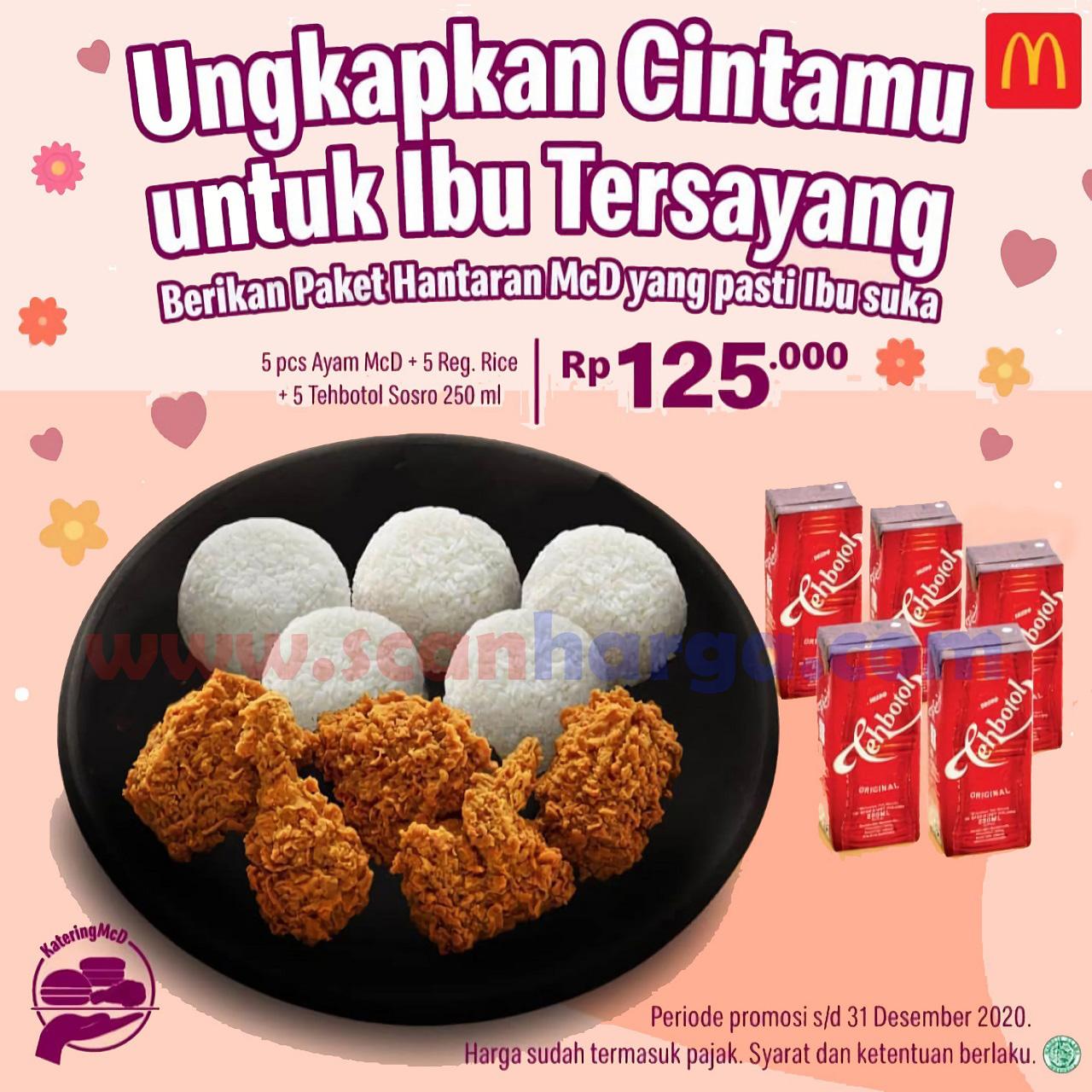 Promo McDonalds Paket Hantaran MCD – 5Pcs Ayam + 5 Nasi + 5 Tehbotol Sosro cuma Rp 125.000,-