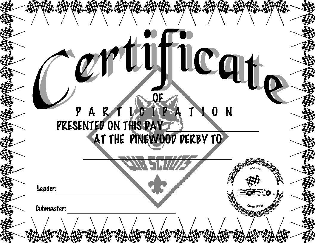 Last Night At Roundtable Don Asked Where He Could Get Some Pinewood Derby Certificates I Found Them Idea Door You Can Go There And Save Or Print Off