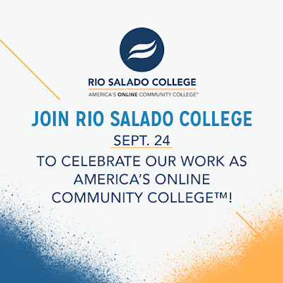 "Poster that reads ""Join Rio Salado College Sept. 24 to celebrate our work as America's Online Community College."