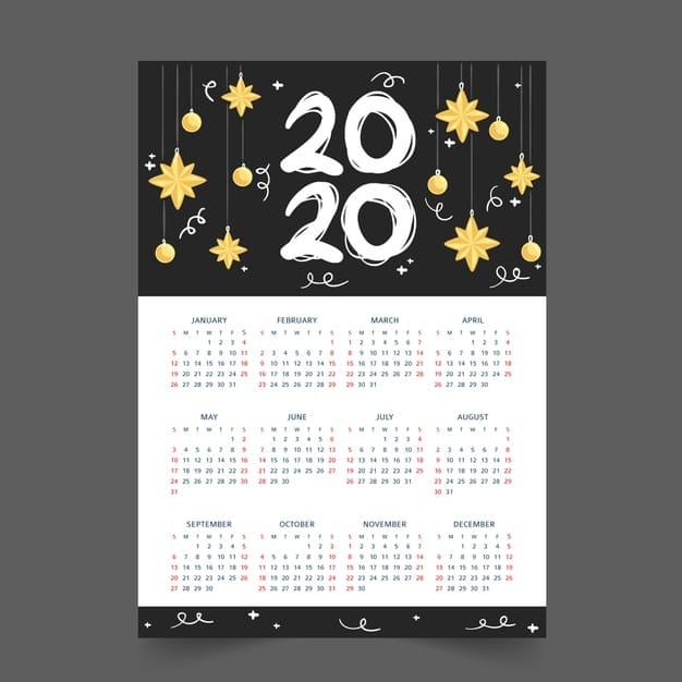 Plantilla de calendario anual 2020 gratis