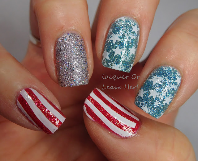 Memorial Day mani with Zoya Seashells pixies, Zoya Linds, Zoya Tilly, and Zoya Bay