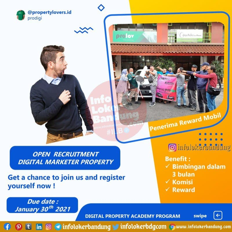 Open Recruitment Digital Marketer Property Prolov Bandung Januari 2021