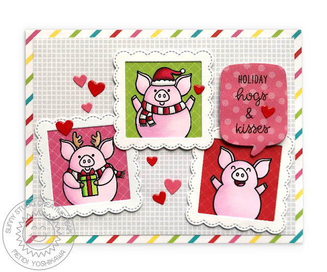 Sunny Studio Stamps: Holiday Hogs & Kisses Scalloped Pig Themed Christmas Card (using Very Merry & Subtle Grey Tones 6x6 Paper & Fancy Frames Square Dies)