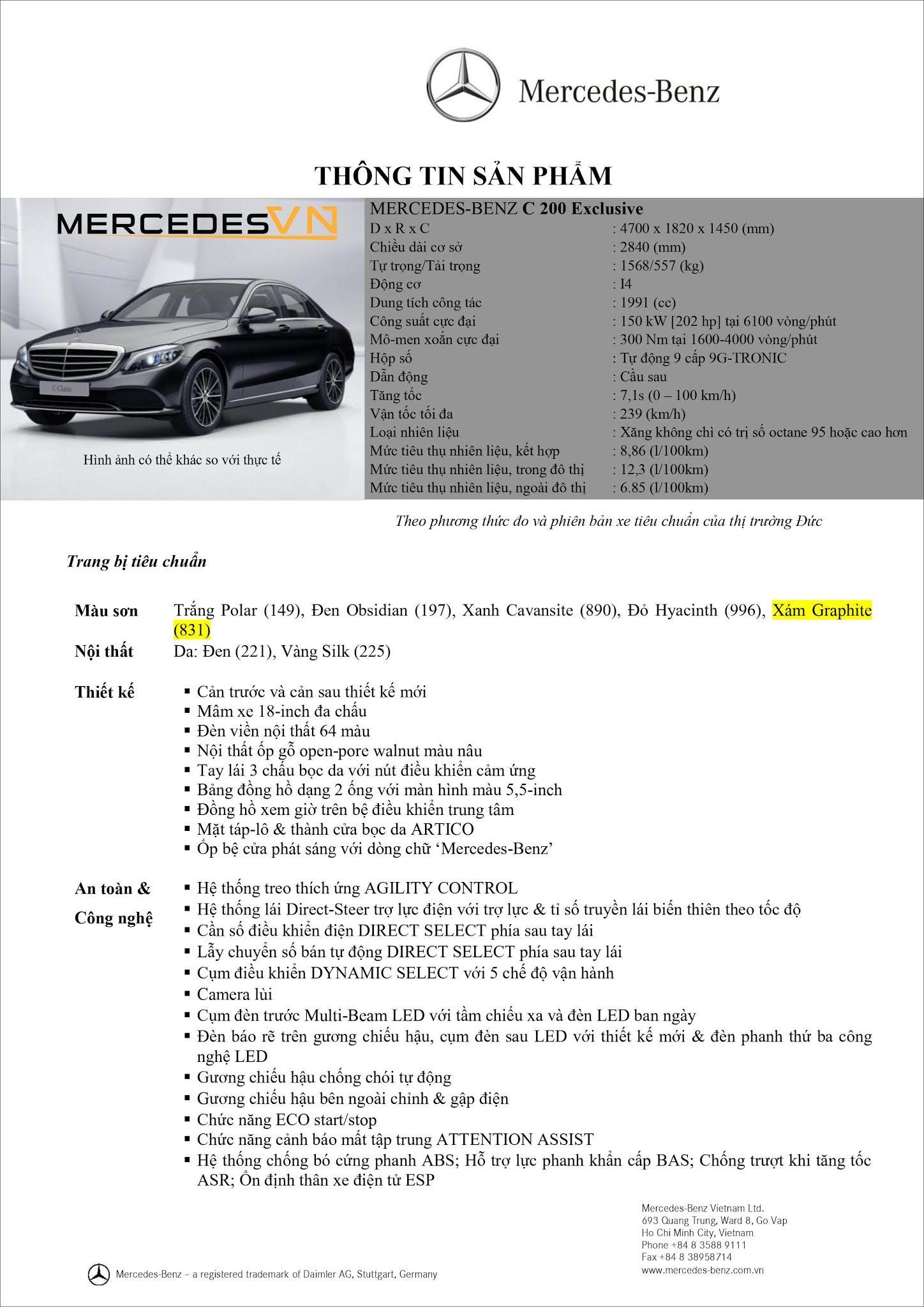 Bảng thông số kỹ thuật Mercedes C200 Exclusive 2021