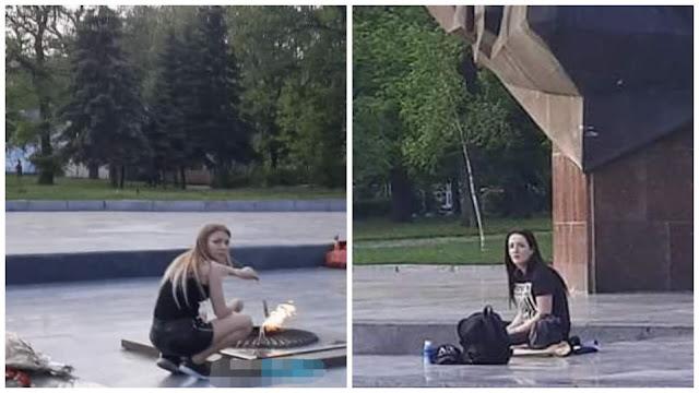 Под Киевом девушки жарили сосиски на Вечном огне!