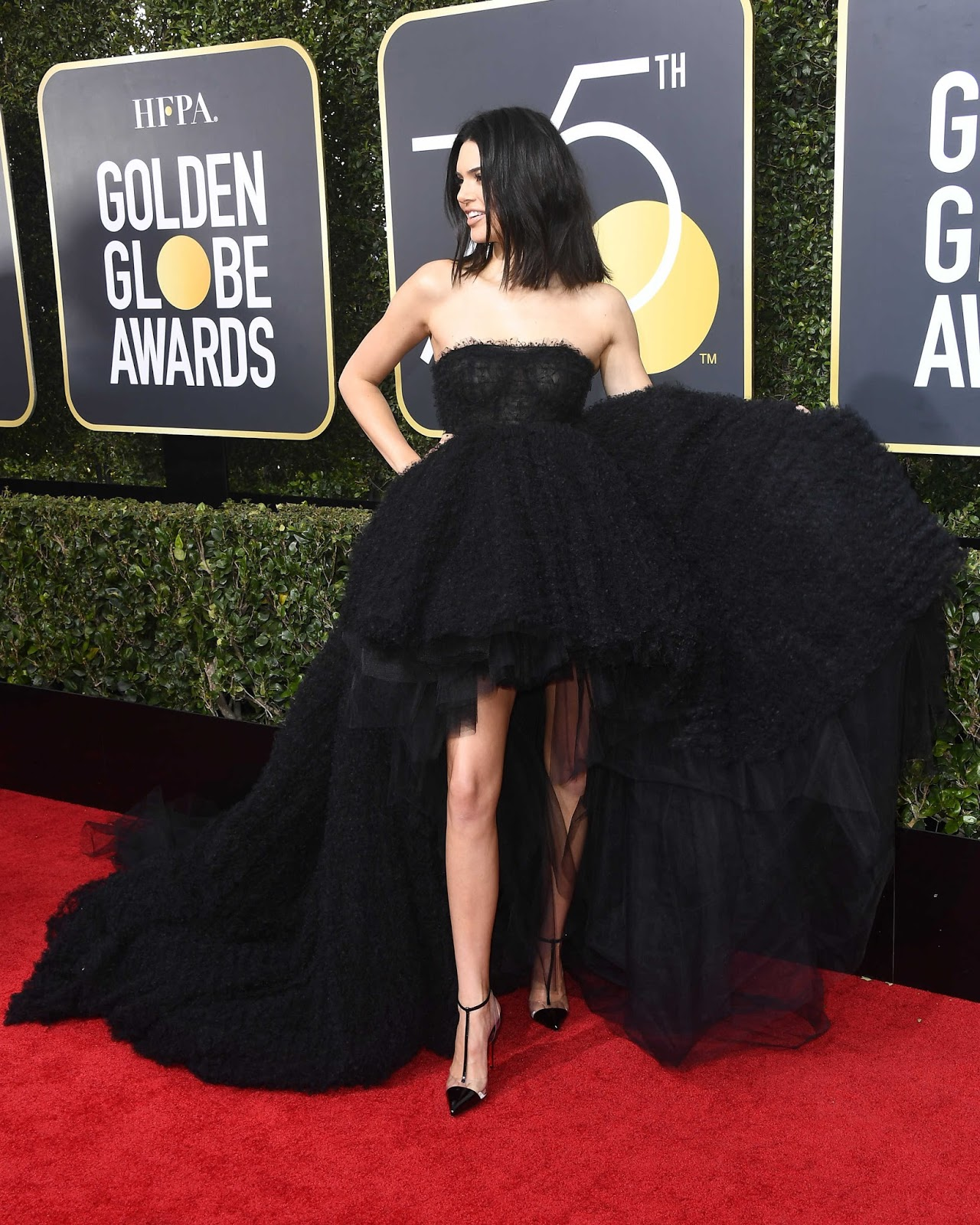 Kendall Jenner on the Red Cart at Golden Globe Awards