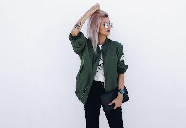 khaki bomber jacket outfit