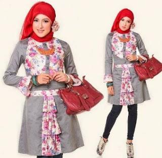 Baju batik atasan wanita kombinasi polos berjilbab