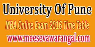 University Of Pune MBA Online Exam 2016 Time Table