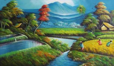 Gambar 1 : Lukisan Pemandangan (Cat minyak di kanvas)  (sumber : google.com)