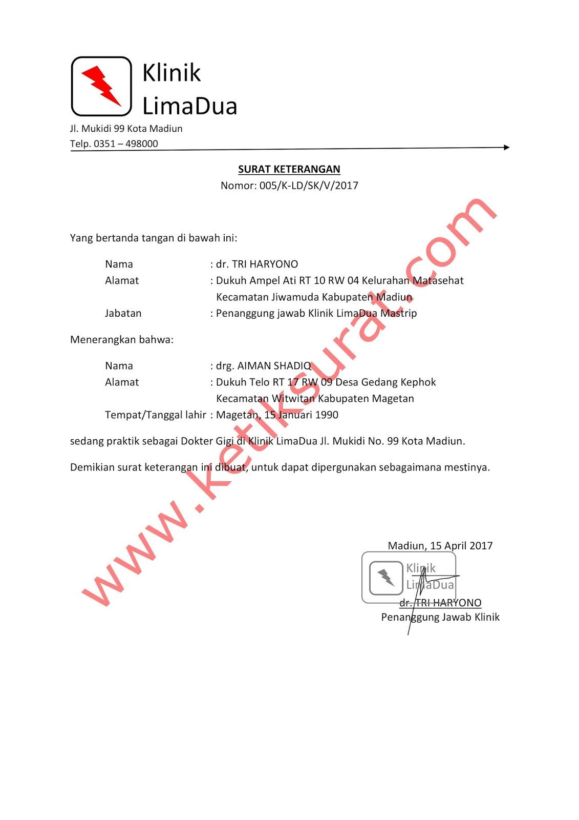 Contoh Surat Keterangan Praktik Dokter Di Klinik Ketik Surat