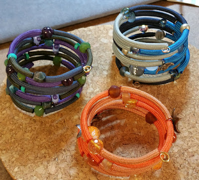 Paracord wrap bracelets from scrap 550, wire and beads.