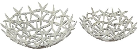Set of White Starfish Bowls