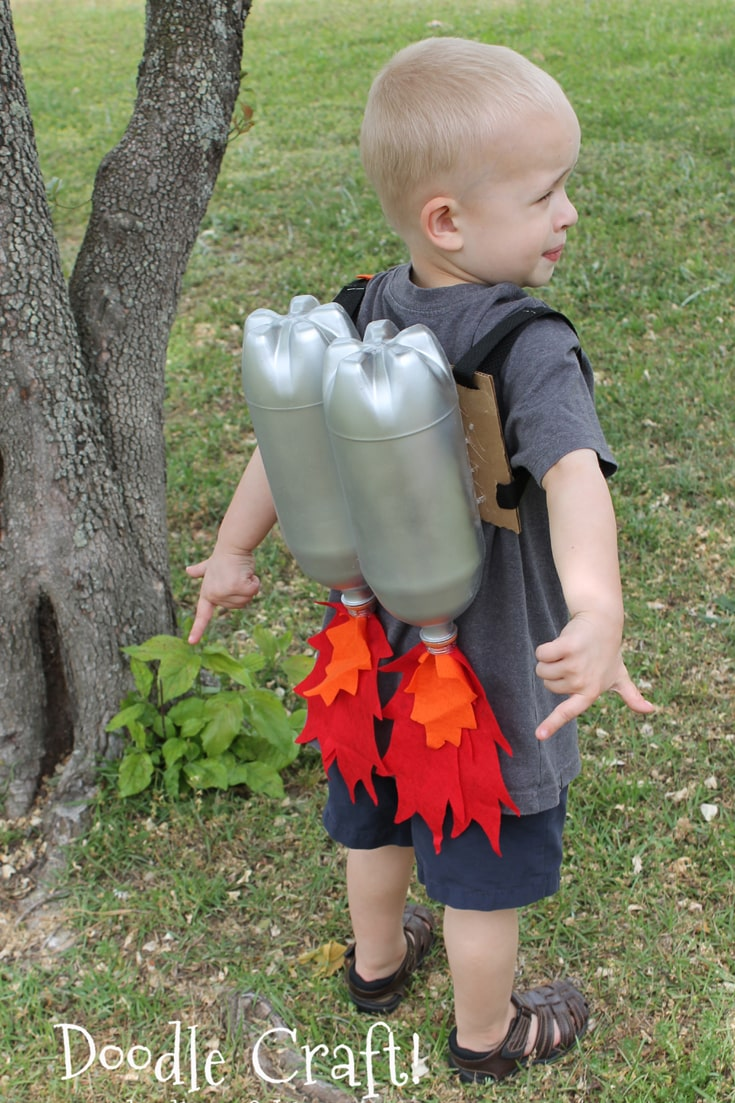 DIY Jet Pack upcycled from 2 liter soda pop bottles painted silver for a child costume or imagination