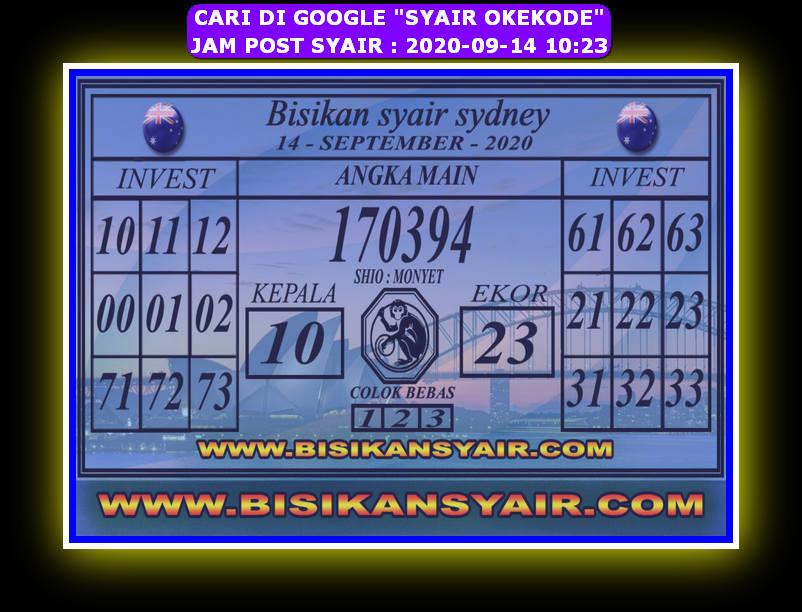 Kode syair Sydney Senin 14 September 2020 125