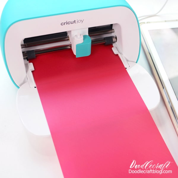 Project 2: Cosmetic Bags The second thing that Cricut Joy is king at is cutting with smart surfaces. This means that you don't need to use a cutting mat! Just insert the iron-on or vinyl and cut, it's smart enough to cut through the layer of material but not cut the backing.