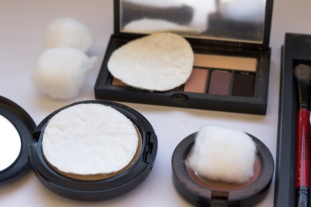 placing cotton balls and cotton pads inside your make up platte helps from breakage