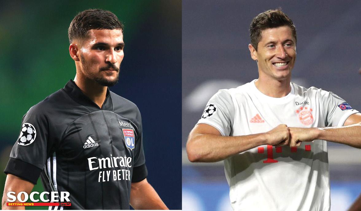 Lyon's Houssem Aouar and Bayern Munich's Robert Lewandowski