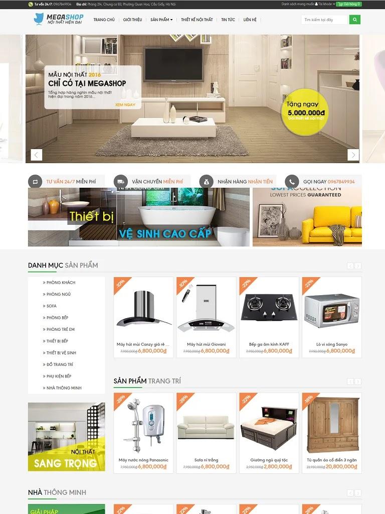 Template blogspot thiết kế nội thất Megashop chuẩn đẹp - Ảnh 1