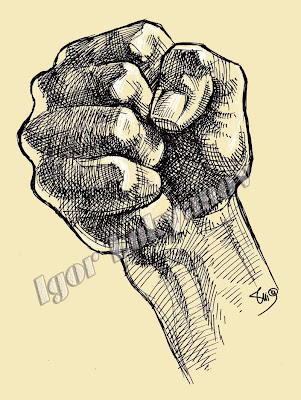 powerful fist drawing (crosshatching)