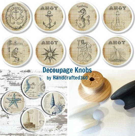 Coastal Decoupage Knobs