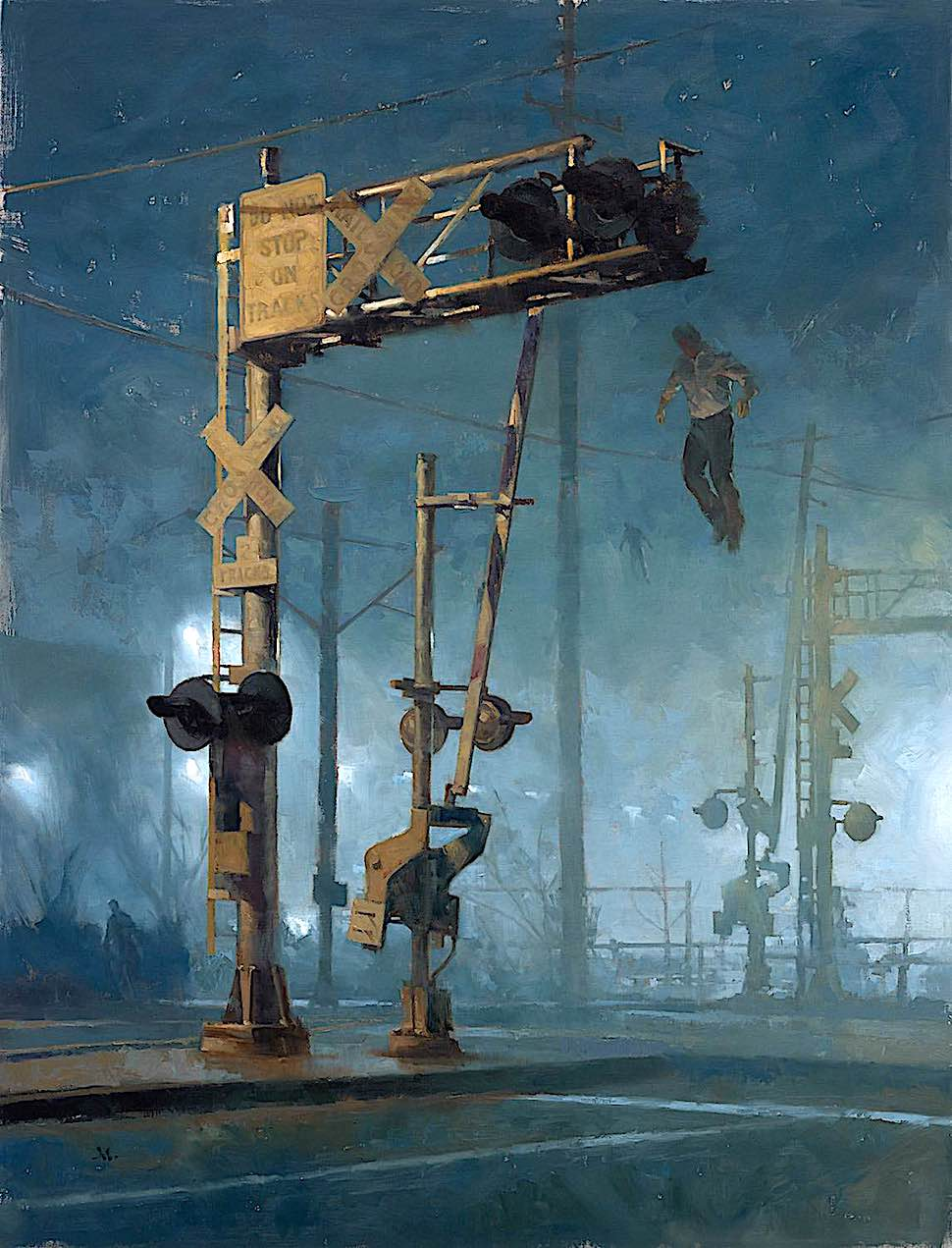 Gregory Manchess, a strange scene at night at a train rail crossing