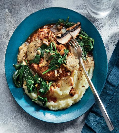 HEALTHY DINNER PORTOBELLOS AND SPINACH ON CAULIFLOWER MASH WITH MISO–MUSHROOM SAUCE
