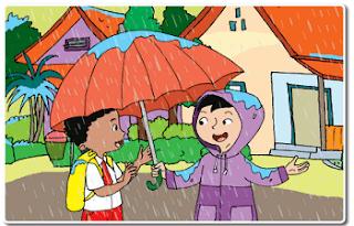 Beni berangkat ke sekolah memakai jas hujan www.jokowidodo-marufamin.com