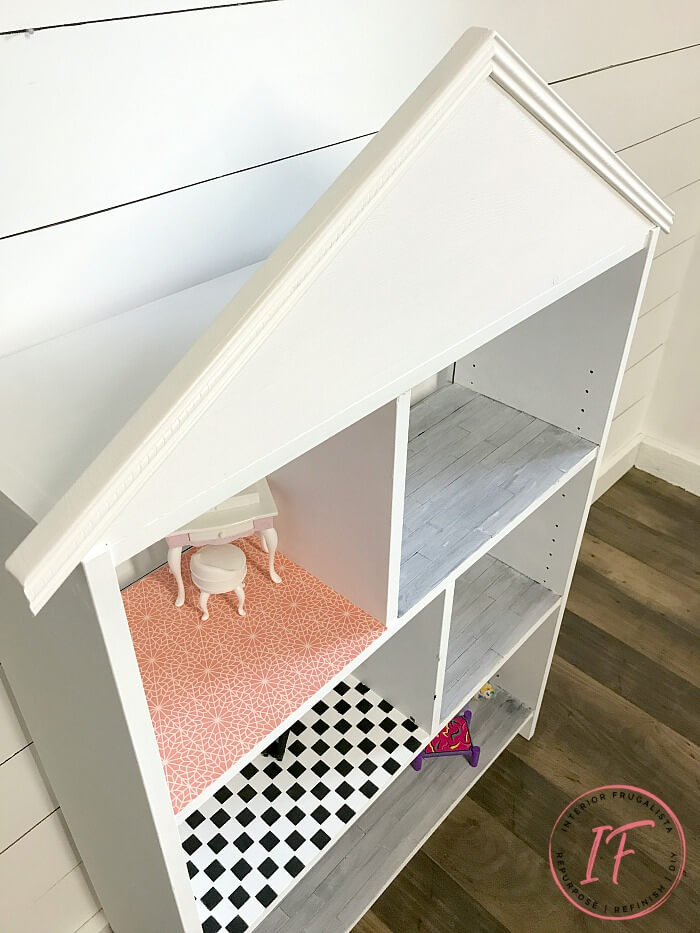 Dollhouse Bookcase DIY Flooring And Pitched Roof