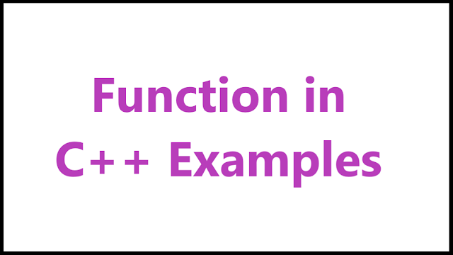 function example in c++