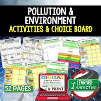 Pollution and the Environment Activities, Earth Science Activities, Choice Boards, Digital Graphic Organizers