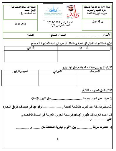 ورقة عمل سكان شبه الجزيرة العربية دراسات اجتماعية