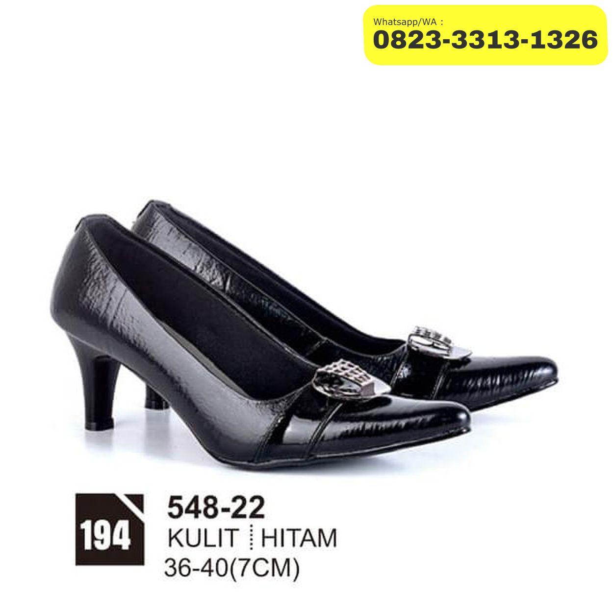 sepatu pantofel wanita hak tinggi high heels 7cm hitam kulit fa580c0d1b