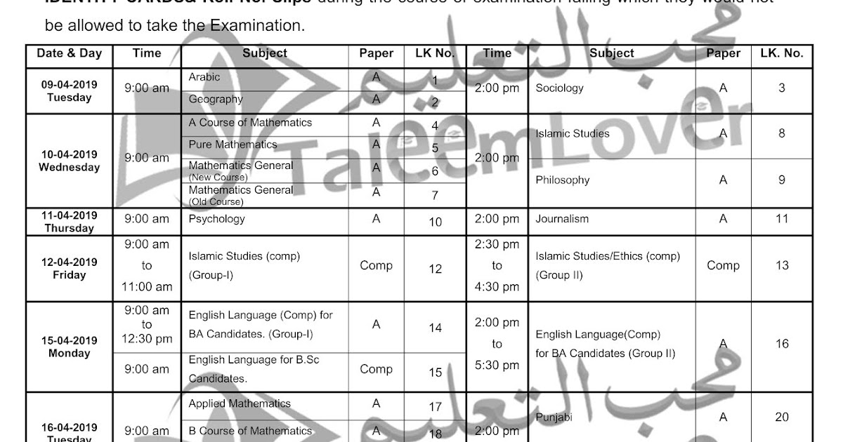 BA/B Sc Date Sheet (University of Sargodha) Annual Exam 2019
