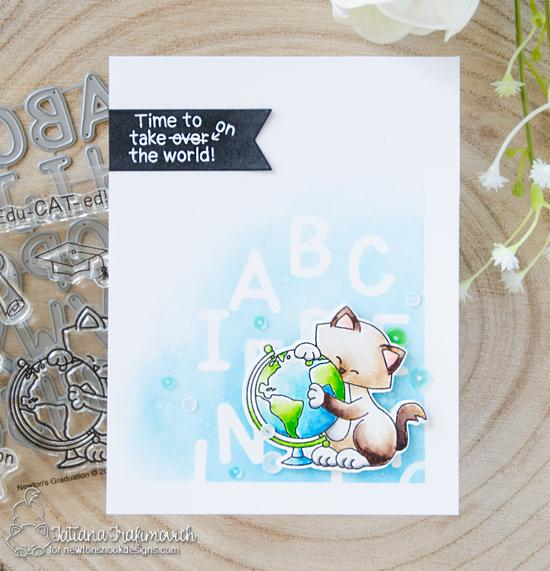 Graduation Card by Tatiana Trafimovich | Newton's Graduation Stamp Set and Essential Alphabet Die Set by Newton's Nook Designs #newtonsnook #handmade