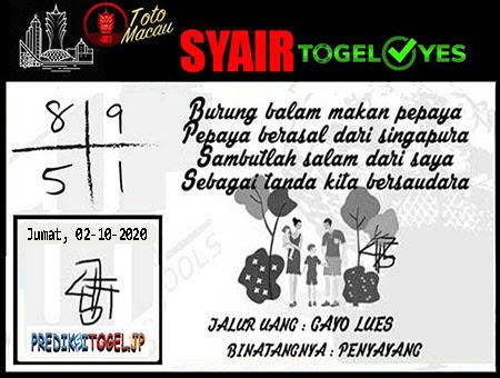 Syair Togel Yes Macau Jumat 02 Oktober 2020