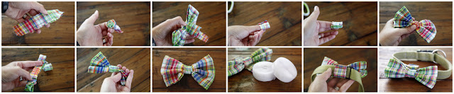 Step-by-step how to make dog collar bow tie