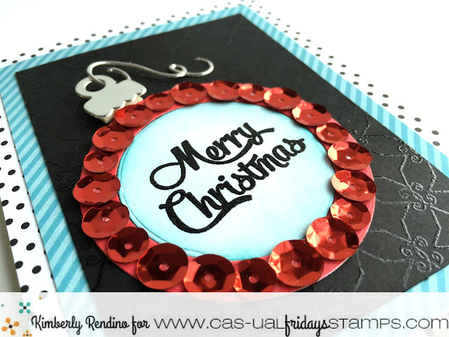 holiday | christmas | sequins | ornament |  handmade card | cardmaking | papercraft | cas-ual fridays stamps | kimpletekreativity.blogspot.com | clear stamps | embossing powder