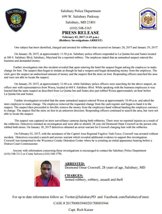 Salisbury News: Press Release - (Robbery Investigation-Wawa