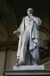 The statue of Cagnola at the Palazzo di Brera in Milan