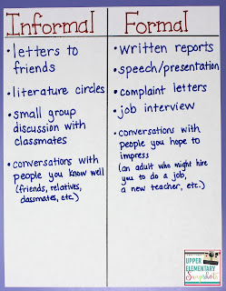 Teaching students the difference between formal and informal registers is important. Students need to apply this knowledge in a variety of speaking and writing situations. This blog post contains tips, freebies, and lesson ideas (including this T-chart).